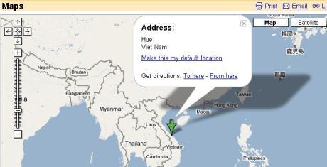 Vị tr� TP Huế nhìn từ Maps Google